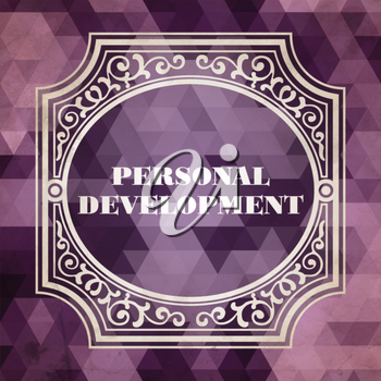 Personal Development Concept. Vintage design. Purple Background made of Triangles.