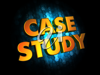 Case Study Concept - Golden Color Text on Dark Blue Digital Background.