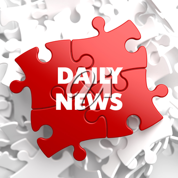 Daily News Concept on Red Puzzle on White Background.