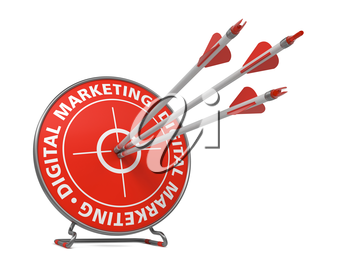 Digital Marketing Concept. Three Arrows Hit in Red Target.