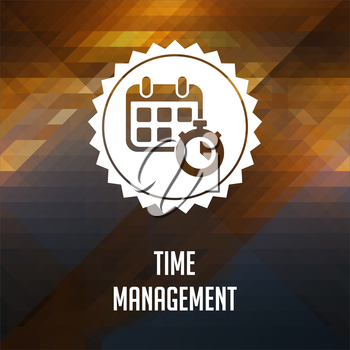 Time Management. Retro label design. Hipster background made of triangles, color flow effect.