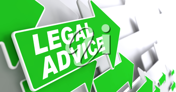 Legal Advice on Direction Sign - Green Arrow on a Grey Background.