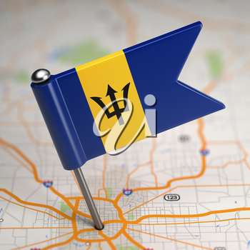 Small Flag of Barbados on a Map Background with Selective Focus.