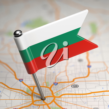 Small Flag of Bulgaria Sticked in the Map Background with Selective Focus.