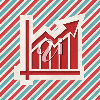 Growth Concept on Red and Blue Striped Background. Vintage Concept in Flat Design.