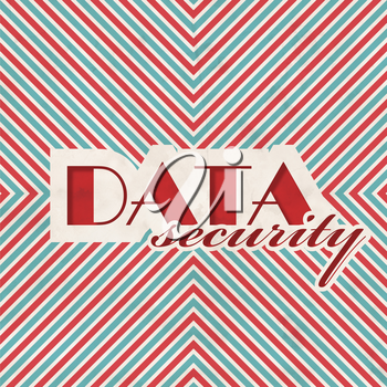 Data Security Concept on Red and Blue Striped Background. Vintage Concept in Flat Design.