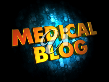 Medical Blog Concept - Golden Color Text on Dark Blue Digital Background.