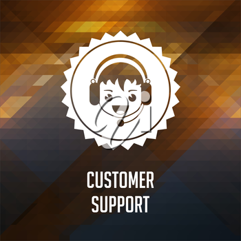 Customer Support. Retro label design. Hipster background made of triangles, color flow effect.