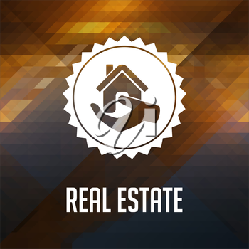 Real Estate. Retro label design. Hipster background made of triangles, color flow effect.