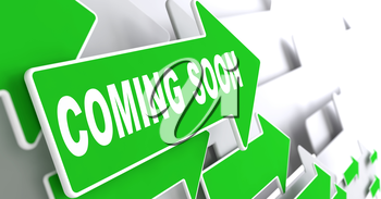 Coming Soon Concept. Green Arrows on a Grey Background Indicate the Direction.