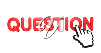 Question - Red 3D Word with Hand Cursor on White Background.