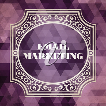 E-mail Marketing Concept. Vintage design. Purple Background made of Triangles.