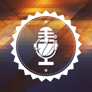 Microphone Icon. Retro label design. Hipster background made of triangles, color flow effect.