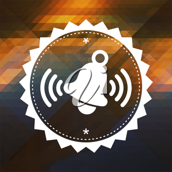 Ringing Bell Icon. Retro label design. Hipster background made of triangles, color flow effect.