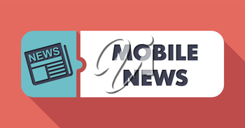 Mobile News Concept on Scarlet in Flat Design with Long Shadows.