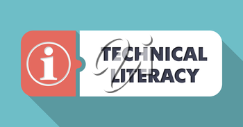 Technical Literacy Button in Flat Design with Long Shadows on Scarlet Background.