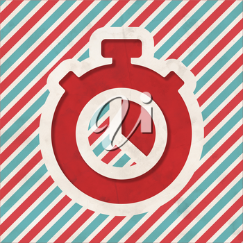 Stopwatch Icon on Red and Blue Striped Background. Vintage Concept in Flat Design.