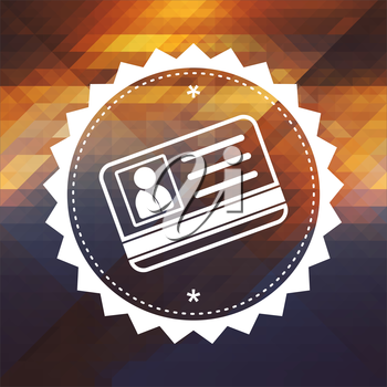 Identification Concept - ID Card Icon. Retro label design. Hipster background made of triangles, color flow effect.