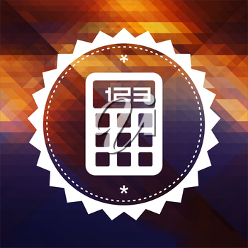 Calculator Icon. Retro label design. Hipster background made of triangles, color flow effect.