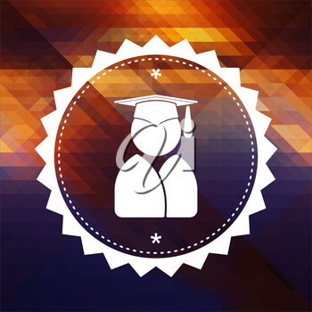 Graduate Icon. Retro label design. Hipster background made of triangles, color flow effect.