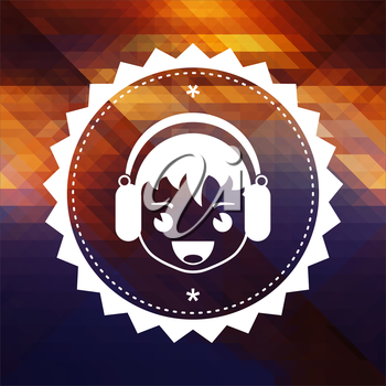 Boy with Headphones Icon. Retro label design. Hipster background made of triangles, color flow effect.