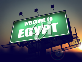Welcome to Egypt - Green Billboard on the Rising Sun Background.