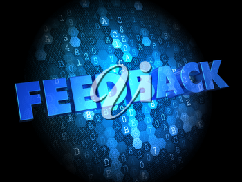 Feedback - Blue Color Text on Dark Digital Background.