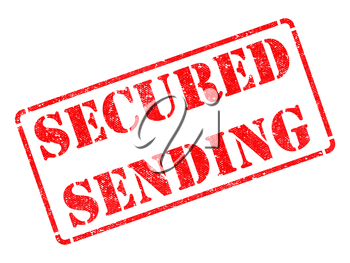 Secured Sending - Inscription on Red Rubber Stamp Isolated on White.