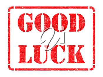 Good Luck  - Inscription on Red Rubber Stamp Isolated on White.