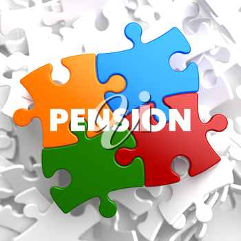 Pension on Multicolor Puzzle on White Background.