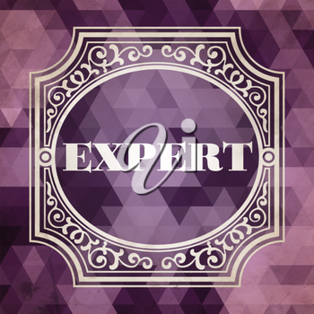 Expert Concept. Vintage design. Purple Background made of Triangles.