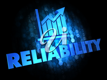 Reliability Concept - Blue Color Text with Growth Chart Icon on Dark Digital Background.
