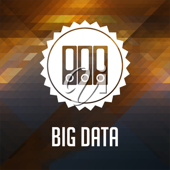 Big Data Concept. Retro label design. Hipster background made of triangles, color flow effect.