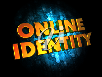 Online Identity  - Gold 3D Words on Digital Background.