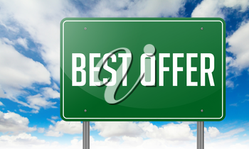 Highway Signpost with Best Offer wording on Sky Background,