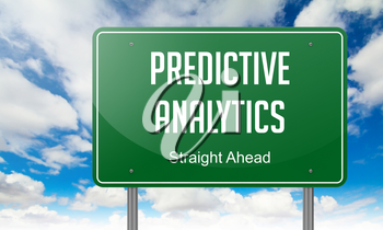 Highway Signpost with Predictive Analytics wording on Sky Background.