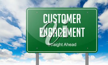Highway Signpost with Customer Engagement wording on Sky Background.