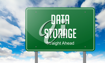 Highway Signpost with Data Storage wording on Sky Background.