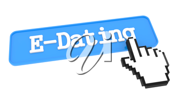 E-Dating Button with Hand Cursor. Business Concept.