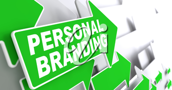 Personal Branding on Direction Sign - Green Arrow on a Grey Background.