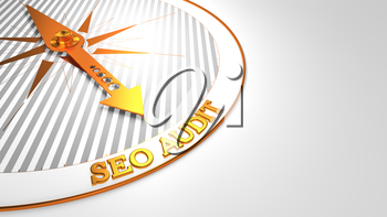 Seo Audit - Golden Compass Needle on a White Background.