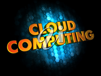 Cloud Computing - Golden Color Text on Dark Blue Digital Background.