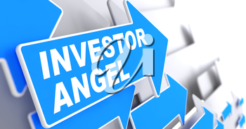 Investor Angel on Direction Sign - Blue Arrow on a Grey Background.