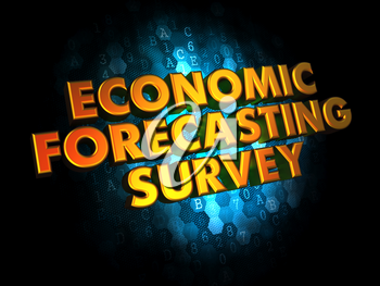 Economic Forecasting Survey - Golden Text on Dark Blue Digital Background.