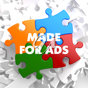 Made for ADS on Multicolor Puzzle on White Background.