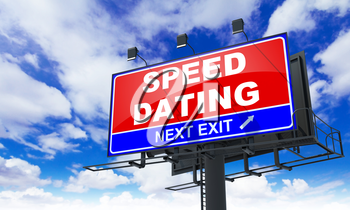 Speed Dating - Red Billboard on Sky Background. Love Concept.