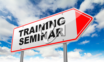 Training Seminar - Inscription on Red Road Sign on Sky Background.