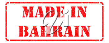 Made in Bahrain - Inscription on Red Rubber Stamp Isolated on White.