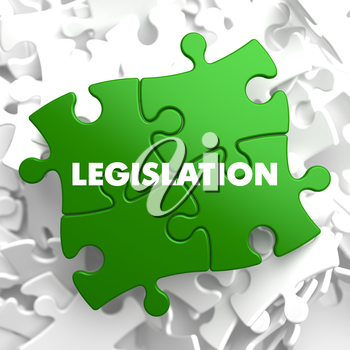 Legislation on Green Puzzle on White Background.