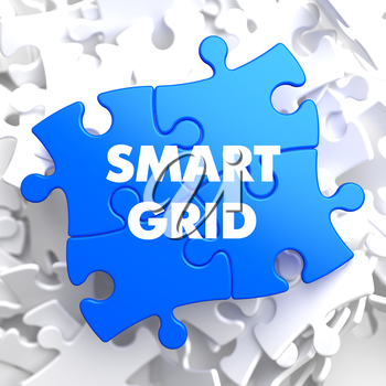 Smart Grid on Blue Puzzle on White Background.